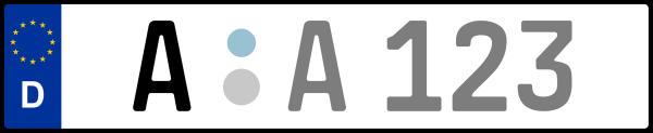 Kennzeichen A: Nummernschild von Augsburg + 1 Regionen