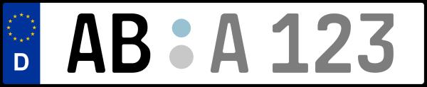 Kennzeichen AB: Nummernschild von Aschaffenburg + 1 Regionen