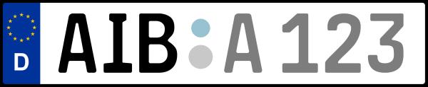 Kennzeichen AIB: Nummernschild von München + 1 Regionen