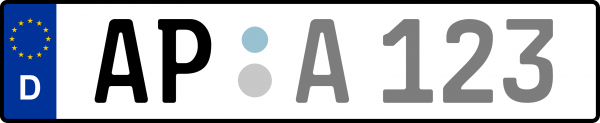 Kennzeichen AP: Nummernschild von Weimarer Land, KreisRegion (Landkreis)