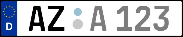 Kennzeichen AZ: Nummernschild von Alzey-Worms, KreisRegion (Landkreis)