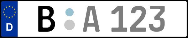 Kennzeichen B: Nummernschild von Berlin, KreisRegion (Kreisfreie Stadt)