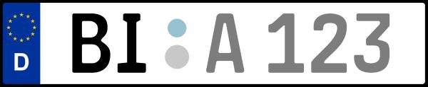 Kennzeichen BI: Nummernschild von Bielefeld, KreisRegion (Kreisfreie Stadt)