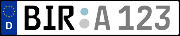 Kennzeichen BIR: Nummernschild von Birkenfeld, KreisRegion (Landkreis)