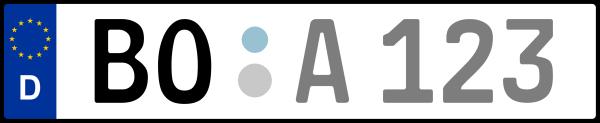Kennzeichen BO: Nummernschild von Bochum (Nordrhein-Westfalen)