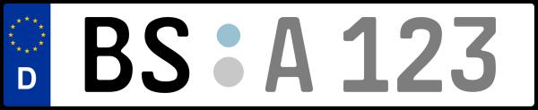 Kennzeichen BS: Nummernschild von Braunschweig, KreisRegion (Kreisfreie Stadt)