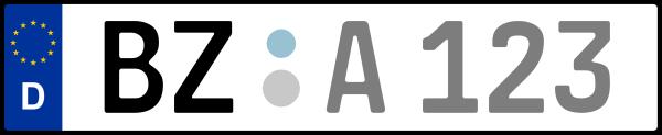 Kennzeichen BZ: Nummernschild von Bautzen, KreisRegion (Landkreis)