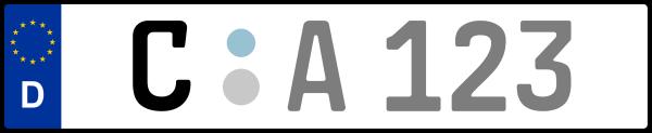 Kennzeichen C: Nummernschild von Chemnitz, KreisRegion (Kreisfreie Stadt)