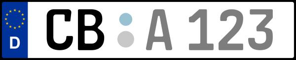 Kennzeichen CB: Nummernschild von Cottbus, KreisRegion (Kreisfreie Stadt)