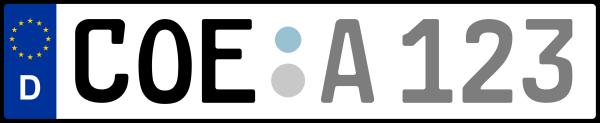 Kennzeichen COE: Nummernschild von Coesfeld, KreisRegion (Kreis)