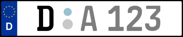 Kennzeichen D: Nummernschild von Düsseldorf, KreisRegion (Kreisfreie Stadt)