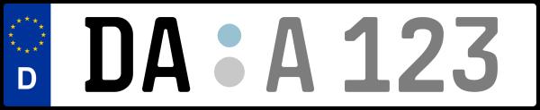 Kennzeichen DA: Nummernschild von Darmstadt + 1 Regionen