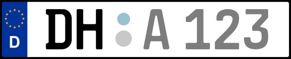 Kennzeichen DH: Nummernschild von Diepholz, KreisRegion (Landkreis)