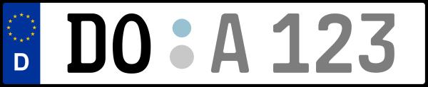 Kennzeichen DO: Nummernschild von Dortmund, KreisRegion (Kreisfreie Stadt)