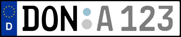 Kennzeichen DON: Nummernschild von Donau-Ries, KreisRegion (Landkreis)