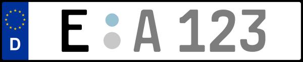 Kennzeichen E: Nummernschild von Essen, KreisRegion (Kreisfreie Stadt)