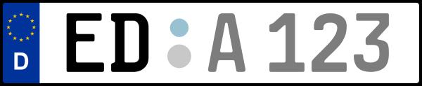 Kennzeichen ED: Nummernschild von Erding, KreisRegion (Landkreis)