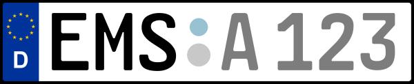 Kennzeichen EMS: Nummernschild von Rhein-Lahn-Kreis, KreisRegion (Landkreis)