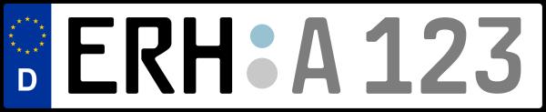 Kennzeichen ERH: Nummernschild von Erlangen-Höchstadt, KreisRegion (Landkreis)