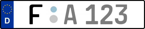 Kennzeichen F: Nummernschild von Frankfurt am Main, KreisRegion (Kreisfreie Stadt)