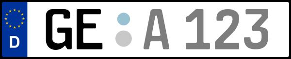 Kennzeichen GE: Nummernschild von Gelsenkirchen, KreisRegion (Kreisfreie Stadt)