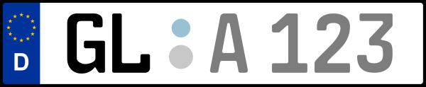 Kennzeichen GL: Nummernschild von Rheinisch-Bergischer Kreis, KreisRegion (Kreis)