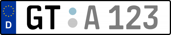 Kennzeichen GT: Nummernschild von Gütersloh, KreisRegion (Kreis)