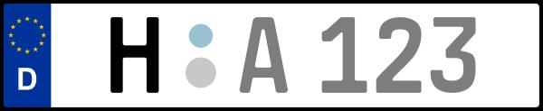 Kennzeichen H: Nummernschild von Region Hannover, KreisRegion (Landkreis)