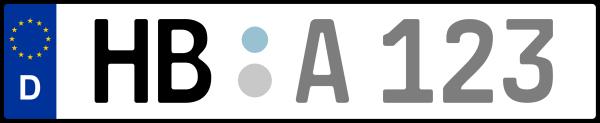 Kennzeichen HB: Nummernschild von Bremen + 1 Regionen