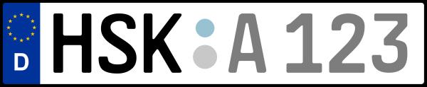 Kennzeichen HSK: Nummernschild von Hochsauerlandkreis, KreisRegion (Kreis)