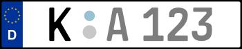 Kennzeichen K: Nummernschild von Köln