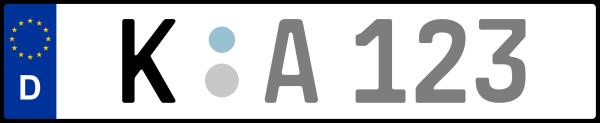 Kennzeichen K: Nummernschild von Köln, KreisRegion (Kreisfreie Stadt)