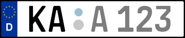 Kennzeichen KA: Nummernschild von Karlsruhe + 1 Regionen