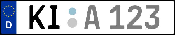 Kennzeichen KI: Nummernschild von Kiel, KreisRegion (Kreisfreie Stadt)