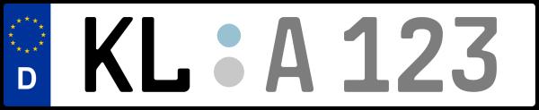 Kennzeichen KL: Nummernschild von Kaiserslautern + 1 Regionen
