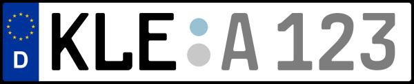Kennzeichen KLE: Nummernschild von Kleve, KreisRegion (Kreis)