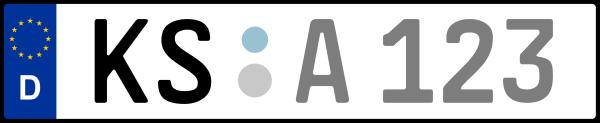 Kennzeichen KS: Nummernschild von Kassel + 1 Regionen