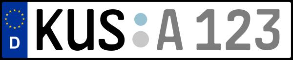 Kennzeichen KUS: Nummernschild von Kusel, KreisRegion (Landkreis)