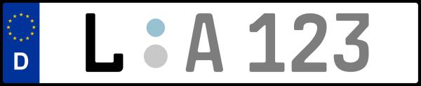 Kennzeichen L: Nummernschild von Leipzig + 1 Regionen