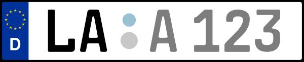 Kennzeichen LA: Nummernschild von Landshut + 1 Regionen