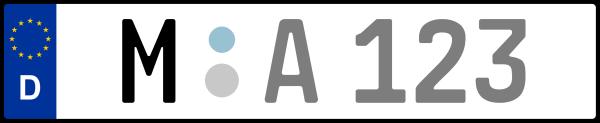 Kennzeichen M: Nummernschild von München + 1 Regionen