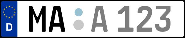 Kennzeichen MA: Nummernschild von Mannheim, KreisRegion (Stadtkreis)