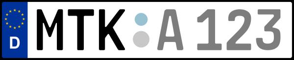 Kennzeichen MTK: Nummernschild von Main-Taunus-Kreis, KreisRegion (Landkreis)