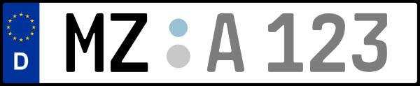 Kennzeichen MZ: Nummernschild von Mainz + 1 Regionen