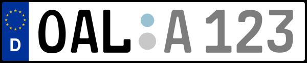 Kennzeichen OAL: Nummernschild von Ostallgäu, KreisRegion (Landkreis)