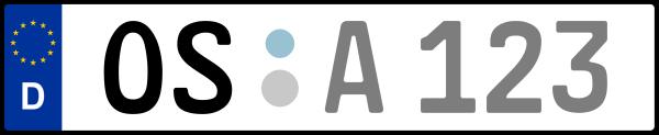Kennzeichen OS: Nummernschild von Osnabrück + 1 Regionen