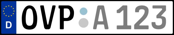 Kennzeichen OVP: Nummernschild von Vorpommern-Greifswald, KreisRegion (Landkreis)