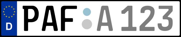 Kennzeichen PAF: Nummernschild von Pfaffenhofen a.d. Ilm, KreisRegion (Landkreis)