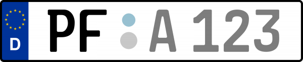 Kennzeichen PF: Nummernschild von Enzkreis + 1 Regionen