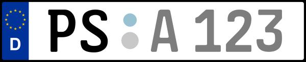 Kennzeichen PS: Nummernschild von Pirmasens + 1 Regionen